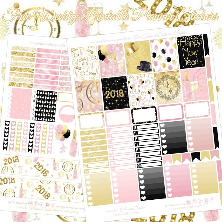 Free New Year's Printable Planner Sticker Spread for the Erin Condren