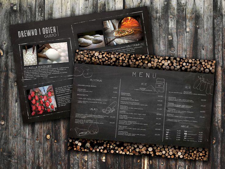 food, wood, pizza, restaurant, loft, style, wooden, modern, natural, material, Poland, graphic, design, pizzaria, pizzeria, menu, menu card,