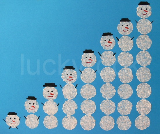 snowman - growing pattern - how many snowballs would there be if you continued this another 10 times?