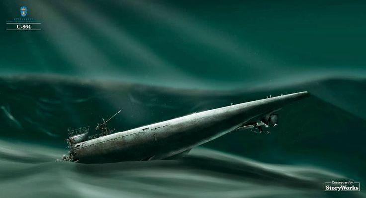 """Vraket av ubåten U-864: Konsepttegningene er laget av StoryWorks ved Reid Per Fiskerstrand, på oppdrag av Kystverket. Tegningene er basert på gamle foto og plantegninger/""""blueprints"""" av ubåten. Den tyske ubåten U-864 ble senket av den britiske ubåten HMS """"Venturer"""" den 9. februar 1945, og sank omtrent to nautiske mil vest av Fedje i Hordaland. I lasten var det blant annet 67 tonn metallisk kvikksølv. Alternative tiltak for fjerning av kvikksølv, samt håndtering av vraket utredes av…"""