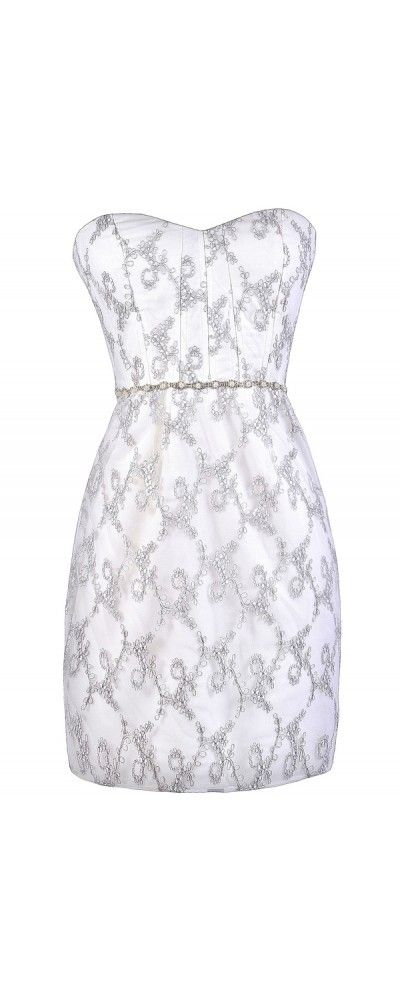 Lily Boutique Metallic Grey and Off White Floral Vine Embellished Dress