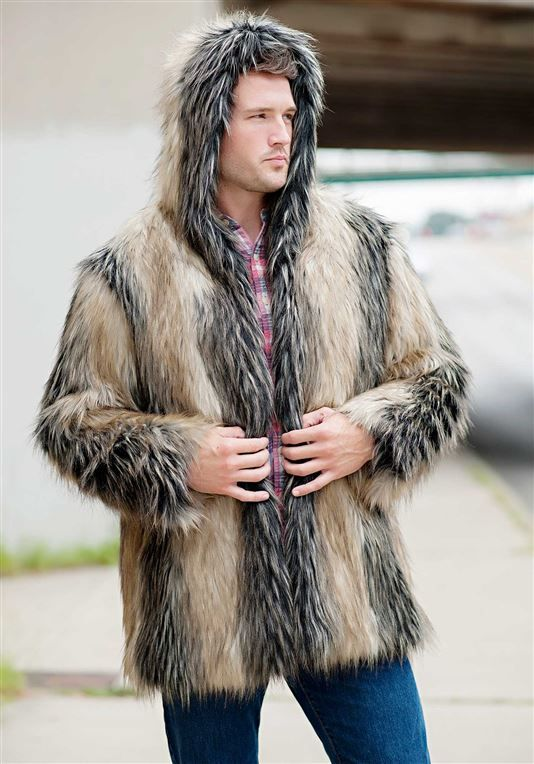 1f566505438d Men's Pieced Fox Hooded Faux Fur Jacket - 5 | мужская | Fur jacket ...