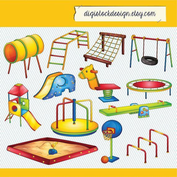 Kids Playground Illustration. Kids Playground Clipart. Kid Playground Digital Images