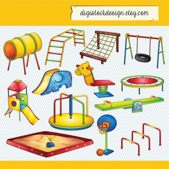Kids Playground Illustration. Kids Playground Clipart. Kid Playground Digital Images