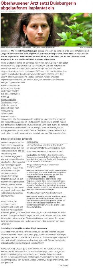 WAZ vom 10.07.2013 - Oberhausener Arzt setzt Duisburgerin abgelaufenes Impantat ein - Rechtsanwaltskanzlei Sabrina Diehl