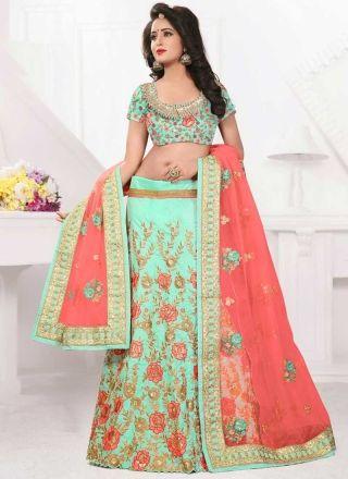 Turquoise Pink Embroidery Work Net Silk Fancy Designer Wedding Lehenga Choli http://www.angelnx.com/Lehenga-Choli/Designer-Lehenga-Choli