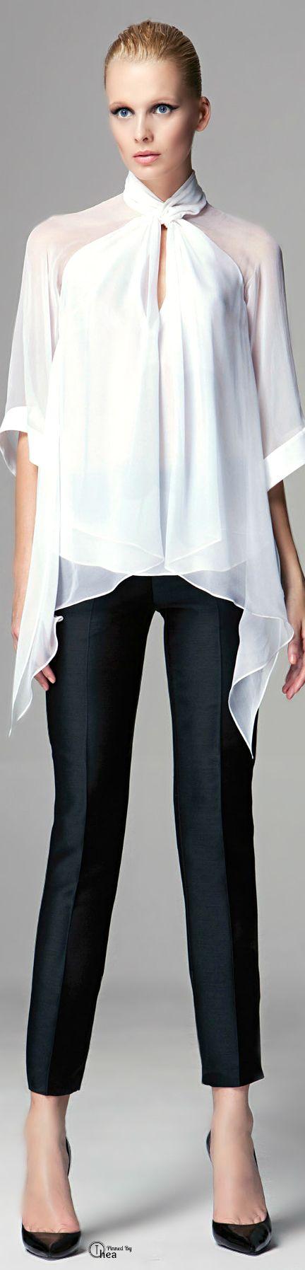 Zuhair Murad ● White blouse, black pants