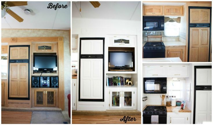 fifth wheel RV remodel before and after photo of kitchen with white cabinets