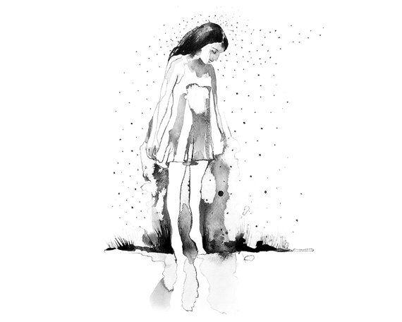 Printable wall art Girl in the rain/ by WatercolorprintByOli