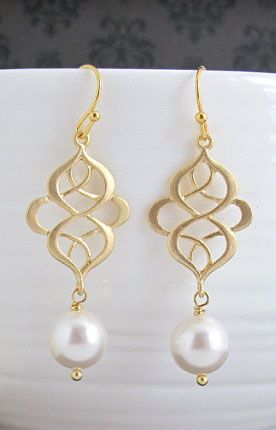 Modern Swirls Chandelier Drop Dangle Earrings. Matte
