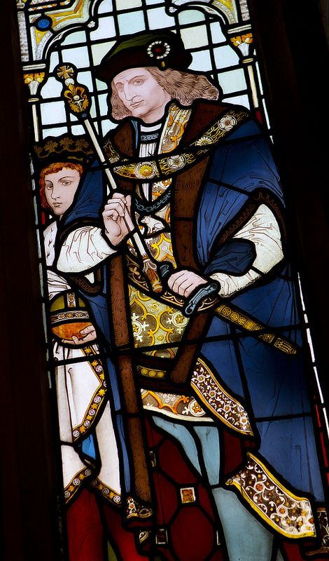 ( - p.mc.n. ) King Richard III as commemorated in stained glass in the windows of the Rochdale Town Hall.