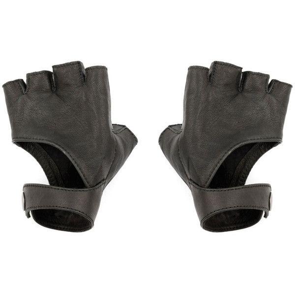 Black Fingerless Gloves - Leather Gloves - Riding Gloves - Fingerless... (135 SGD) ❤ liked on Polyvore