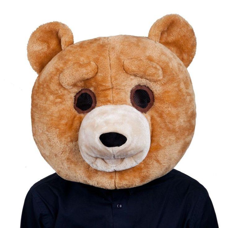 Adults Plush Teddy Bear Head Mask Movie Fancy Dress Party Costume Accessory #Dress