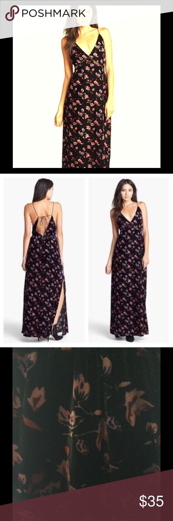 Like Mynded velvet maxi dress! Floral print! The best festival dress! Looks good on everyone! Lovely back detail and medium- high side slit. Hard to let this one go! I refuse to be a walking synonym and be seen in the same dress twice. Lol 😂 a truly unique piece. Purchased at the Nordstrom Rack Store. Velvet materiel. Like Mynded Nordstrom Dresses Maxi