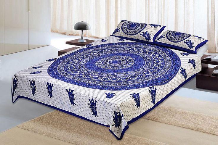 Cotton King Bed Sheet  Indian Jaipur Sanganeri Fanciful 100%  #Unbranded #Asian