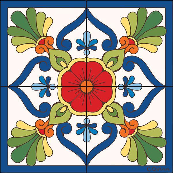 Floral Tile Mural
