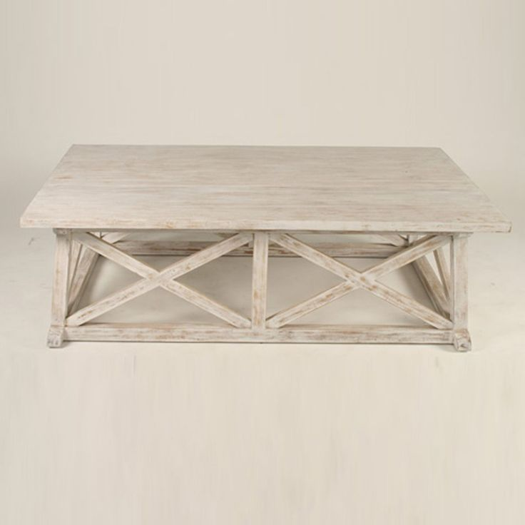 hampton white washed . mahogany coffee table .