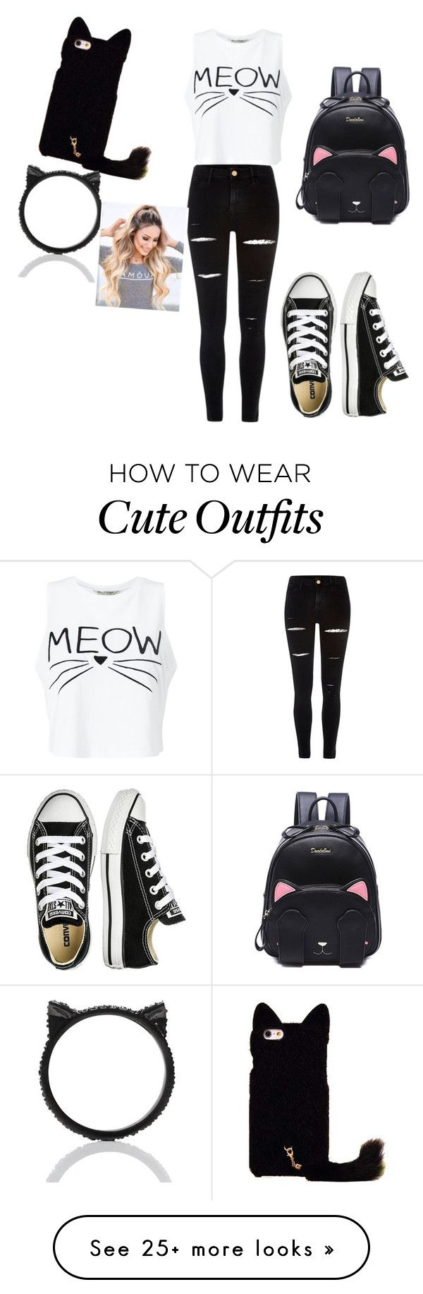 """""""Cat Lovers Outfit for Sundays"""" by kammykat2018 on Polyvore featuring Miss Selfridge, River Island, Converse and Kate Spade"""