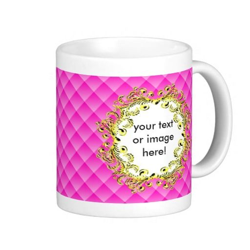 Pink 3D Squares Gold Vintage Frame Coffee Mug - This design features pink 3D squares with a beautiful 3D gold vintage frame in which to add your name, picture, image, text or photo! This mug would make a beautiful gift for a best friend or a personal birthday present.