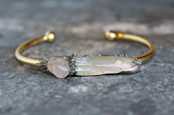 Cadeau de demoiselle d'honneur pour le Bracelet - Bracelet en pierre - Saint Valentin - Bracelet en pierre brute - Bracelet demoiselle d'honneur - Bracelet en cristal brut - Quartz rose