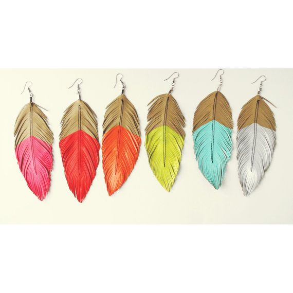 Neon Mohave  Faux Leather Feather Earrings  Surgical Steel  by lovesexton