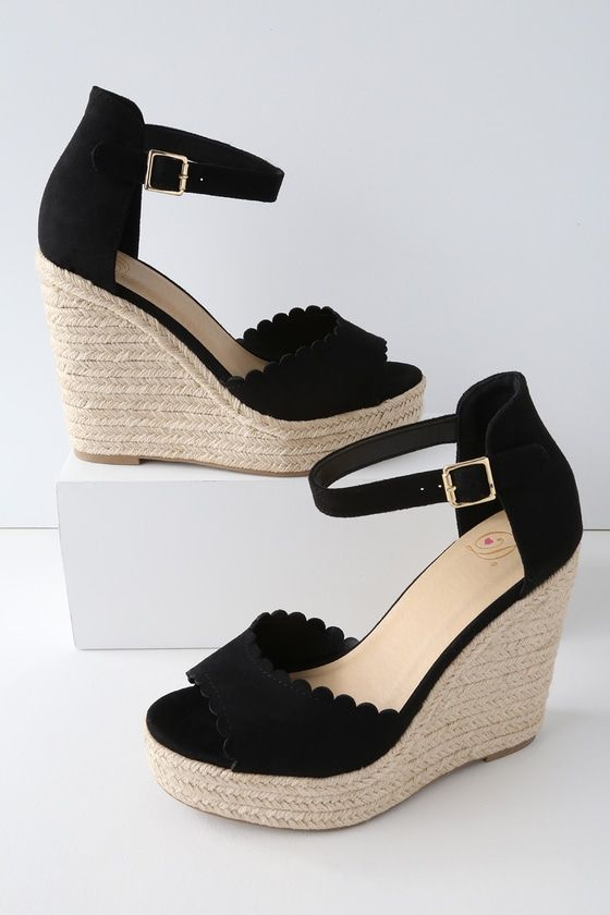 0855c3a1f5a Step right into the summer seasons in the Soleia Black Suede Espadrille  Wedges! Soft vegan suede shapes a scalloped peep-toe upper atop a 1