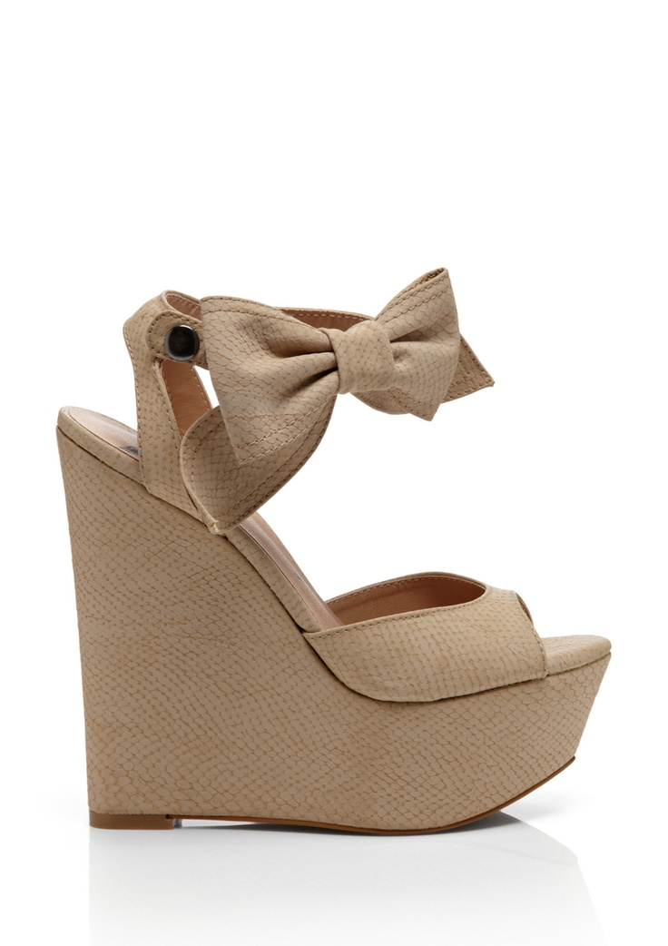 beige bow wedges heels