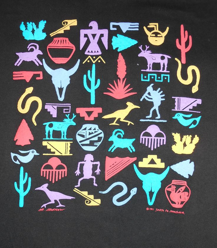 Vtg 90s South Western Indian Neon Graphic Black Arizona T Shirt USA L | eBay