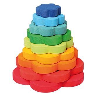 Stort stabelt�rn i ren tr�. Klassisk leget�j og utallige kombinationer. Et stykke leget�j som det lille barn fortsat vender tilbage til.  T�rnet har 8 flotte ringe i forskellige farver. Ringene er flot afrundede og dejlige at holde p�.