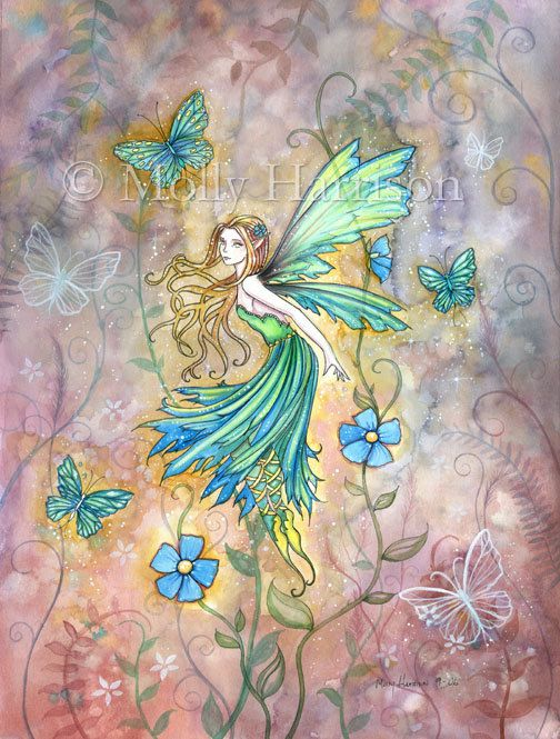 Enchanted Garden Flower Fairy Art  Fine Art by MollyHarrisonArt