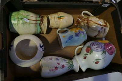 Auction of 20th Century British Pottery, collectors items, household items, antique and quality furniture – Lot 372 – A collection of hand painted Radford and E. Radford hand painted items to include jugs, vases, bowls etc (7)