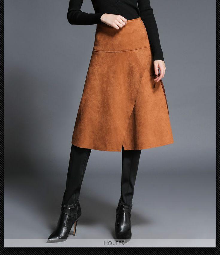 Barato Inverno A linha de saias de cores na altura do joelho saias saias Hight cintura de moda de camurça cáqui, Compro Qualidade Saias diretamente de fornecedores da China:                       New arrival 2015 Fashion A-line pleated skirt women's solid colors b