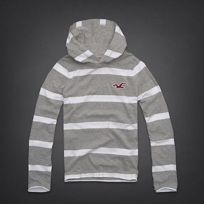NEW Hollister (by Abercrombie) S, M L, XL, Mens Grey/White Hoodie Jumper Sweater