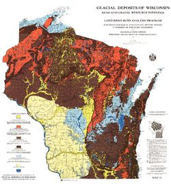 Map of the glacial deposits in Wisconsin and their sand and gravel potential as a resource.  Other than the driftless area, Wisconsin is covered with glacial outwash deposits.