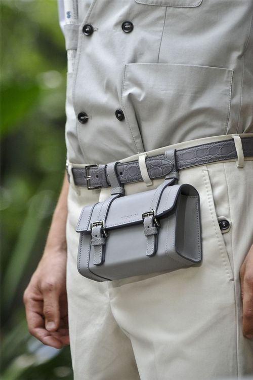 What is this? A Saddle bag for your pants? It's a little weird, but kind of cool at the same time.   Trussardi SS 2013 | Men's Accessories