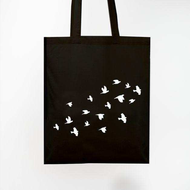 Schwarzer Jutebeutel / Vogelschwarm