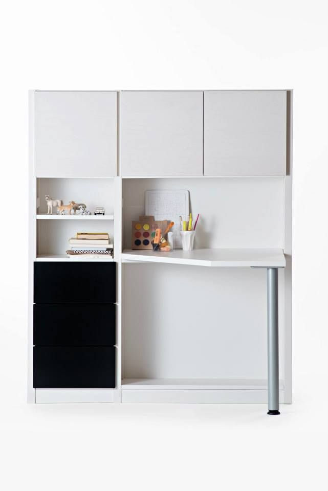 White and black Lundia Classic, with doors, drawers and table.