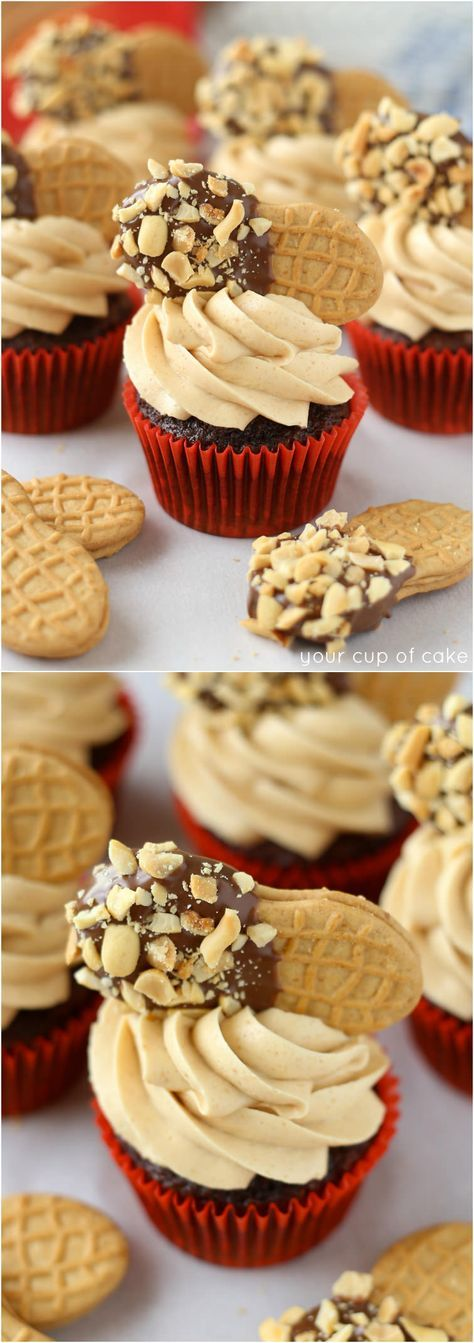 Chocolate Nutter Butter Cupcakes - Your Cup of Cake
