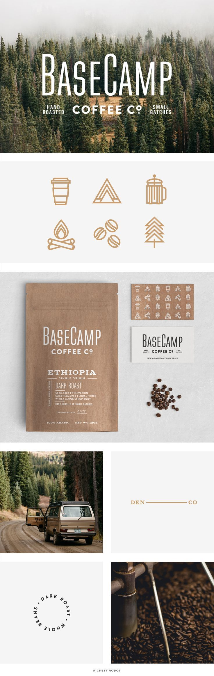 Rickety Robot — Basecamp Branding, Branding, Brand Board, Simple Logo, Coffee Branding, Packaging, Typography, Coffee Packaging, Icon Design
