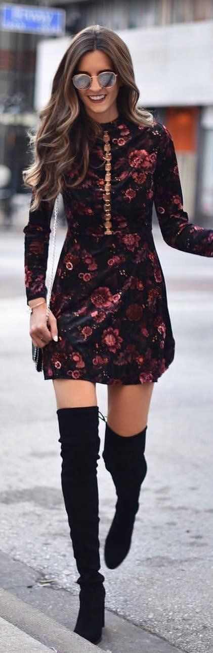 #winter #outfits black and red floral printed long-sleeved mini dress