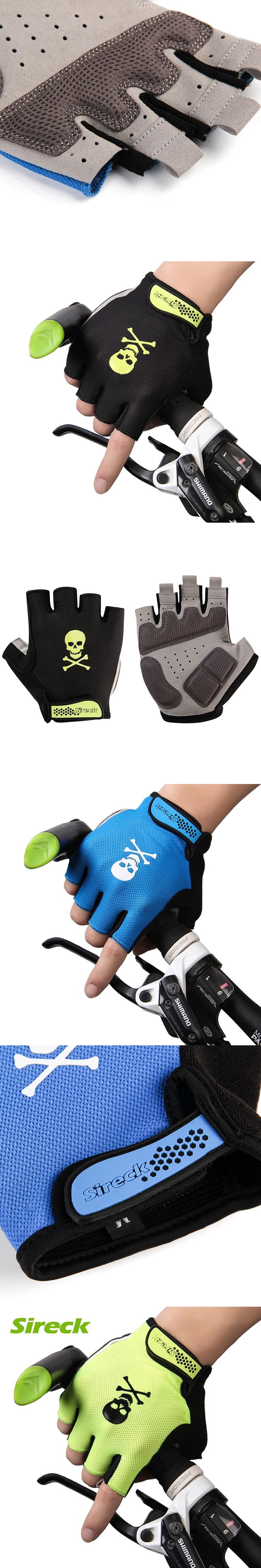 Sireck Summer Cycling Gloves Men Half Finger MTB Road Bike Gloves Gel Padded Shockproof Sports Bicycle Gloves Guantes Ciclismo