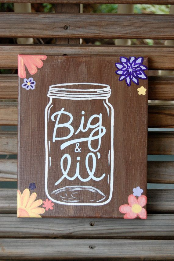 Hand Painted Big and Little Mason Jar Canvas on Etsy, $20.00