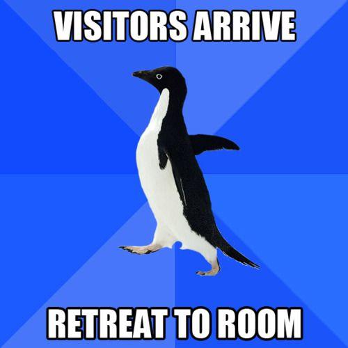 """Visitors arrive ... Retreat to room"" (Socially Awkward Penguin meme)"