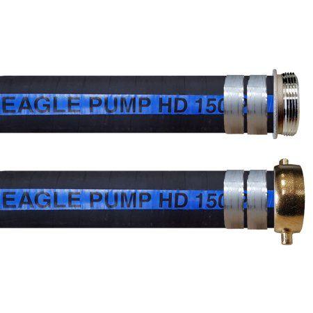 JGB Enterprises A004-0962-0021 Eagle Pump HD 150 PSI Rubber Suction Hose, 6 inch x 20', Coupled MxF Water Shanks, Black