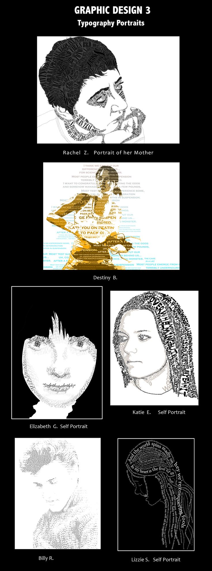 Poster design high school lesson - Typography Portraits Could Be A Good Project For My Students In Graphic Design