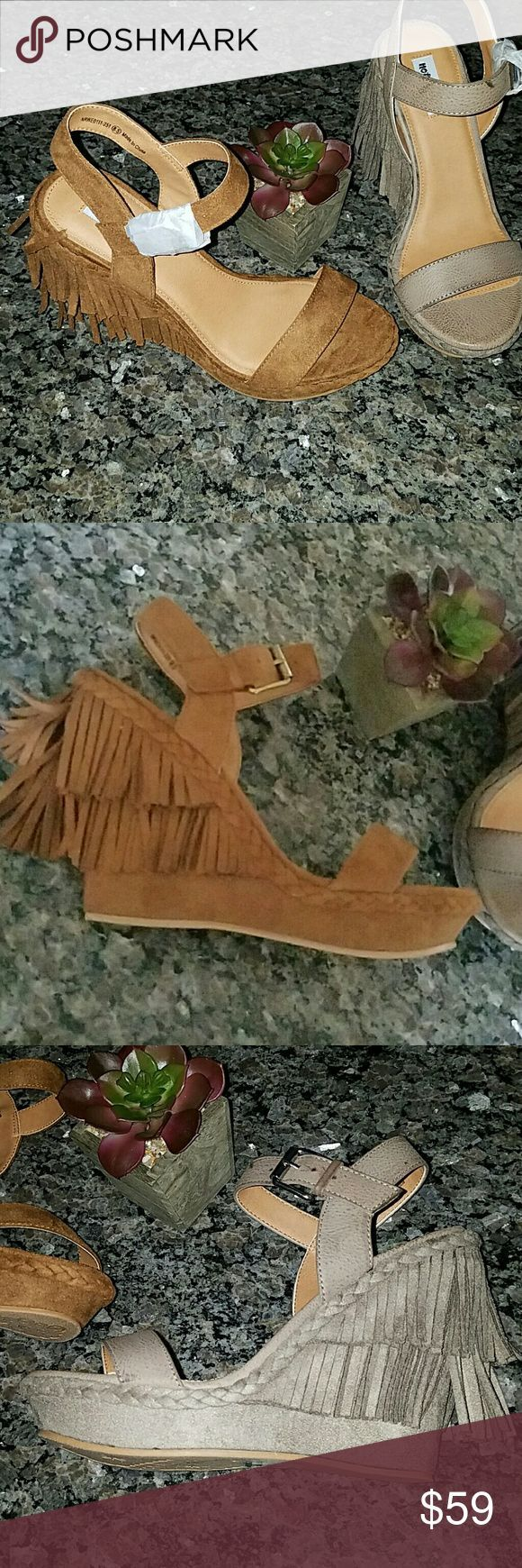 Not Rated Roaring Ruby Fringe Wedge Sandals Must have fun and chic Sandals! Buckle closure Fringe sides and back Slightly padded footbed Braided det