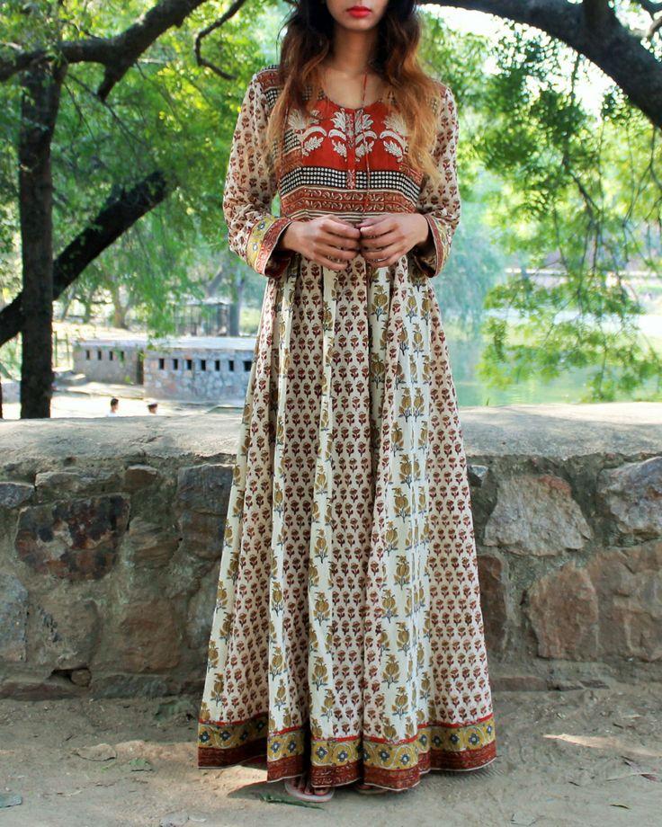 Block printed kalidar dress