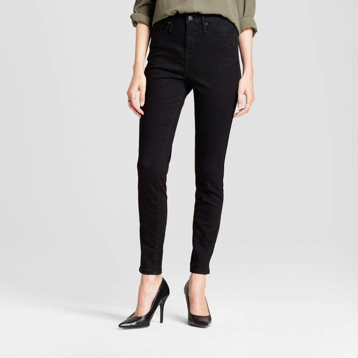Women's Jeans Highest Rise Skinny Extra High Waisted - Mossimo Monkey 18S, Size: 18 Short, Black