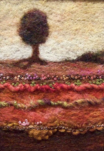 ★ HOW TO Felt Wool |  Needlefelt wool on felt with art yarns and embroidery.  By Deebs Fiber Arts. Great example for early felting project