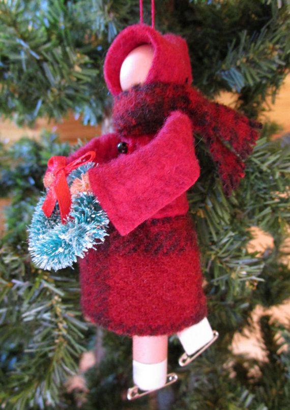 Ice Skater  Christmas Ornament - Lady, Clothespin Ornament